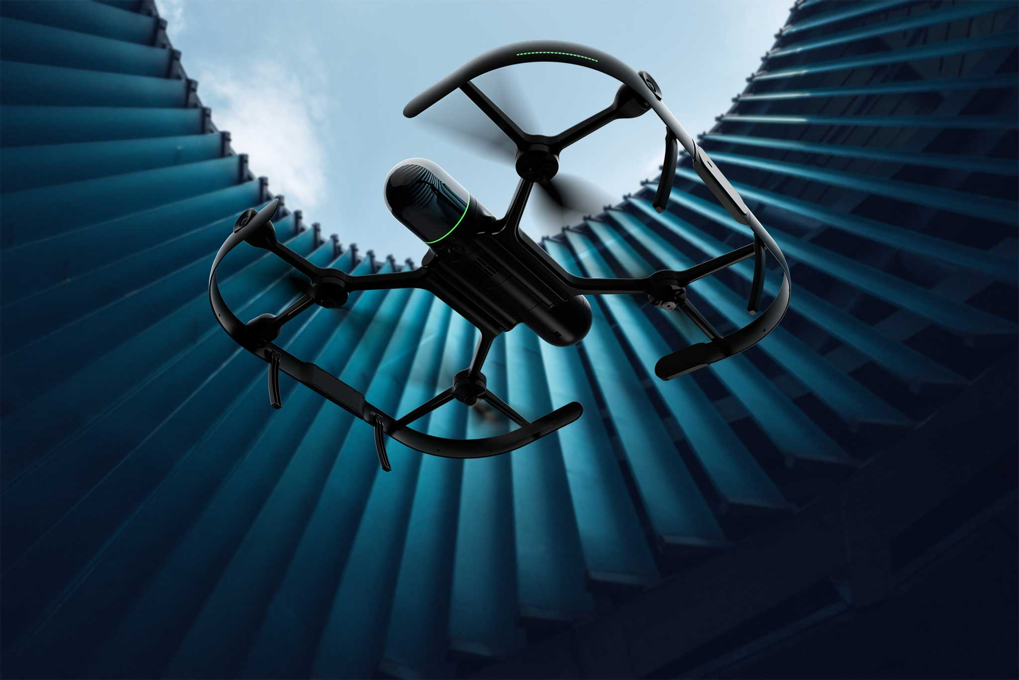 Bottom view of a BLK2FLY flying in a modern roof opening