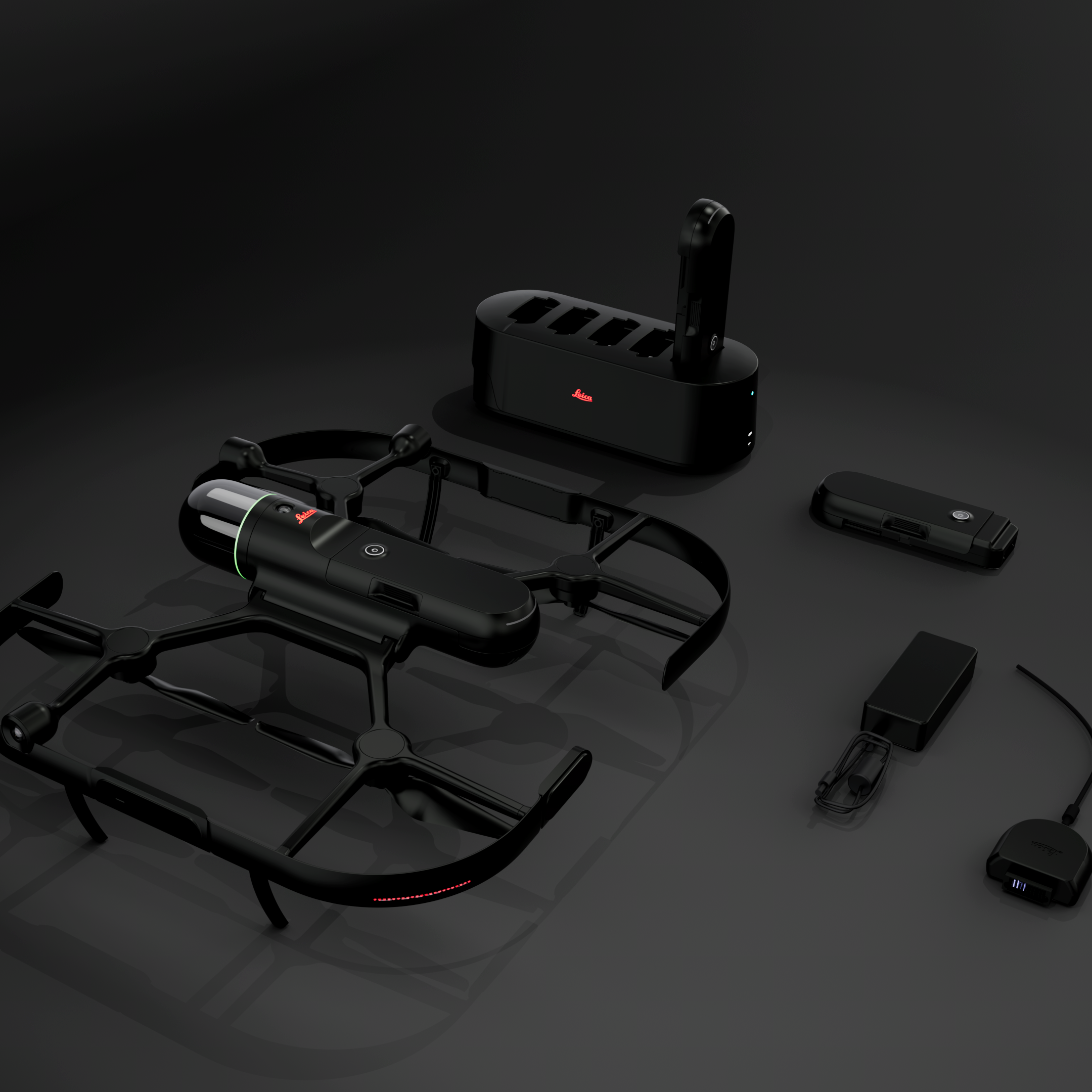 BLK2FLY on Table with various chargers and batteries